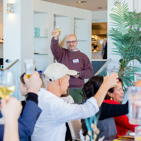 Creative Bay of Plenty General Manager Eric Holowacz offers a toast to the Western bay's creative community