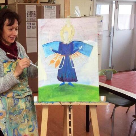 An Arts For Health artist with her painting