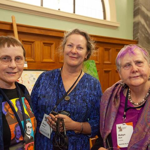 Audio describers Judith Jones and Perry Piercey with Robyn Hunt at Te e Putanga Toi Arts Access Awards 2018