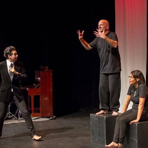 Mihailo Ladjevac, the late Shaun Fahey and Joanne Klaver perform in the Equal Voices Arts 2016 production, At the End of My Hands