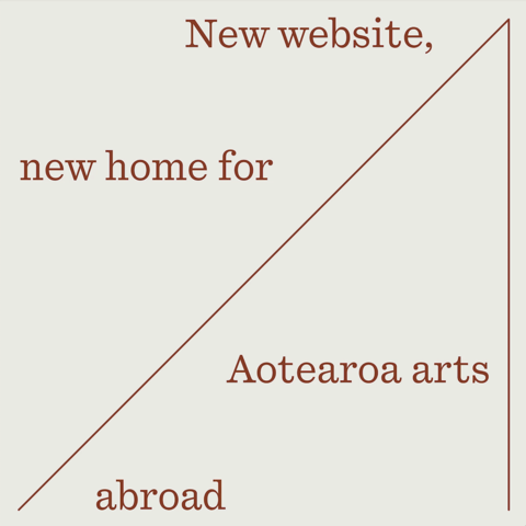 """square image announcing """"New website, new home for Aotearoa arts abroad."""""""