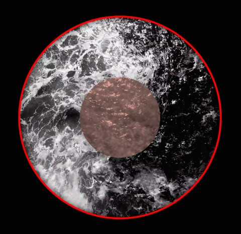 Israel Birch. Rerenga Wairua, 2021. Commissioned video installation projected onto a satellite with audio, 2100 mm diameter.