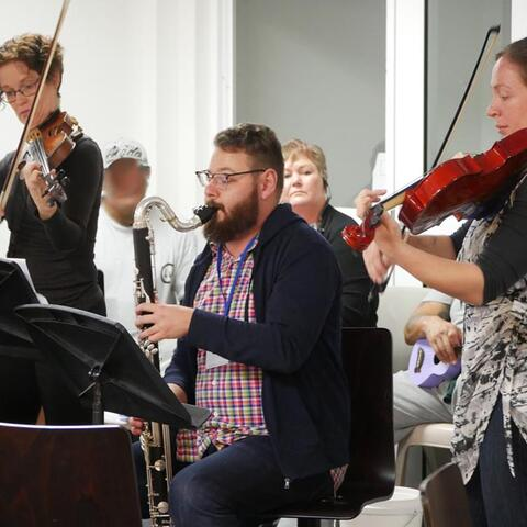 CSO musicians performing in a music workshop at Christchurch Men's Prison