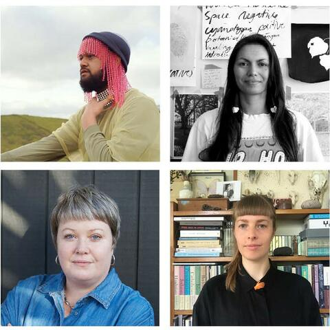 Meet the artists of SCAPE Season 2021. Including (L-R, Top to Bottom) Sione Monu, Aroha Novak, Louise Palmer, and Olivia Webb.