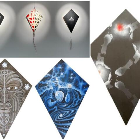 A collage of images of manu tukutuku in the Department of Corrections'  Matariki exhibition