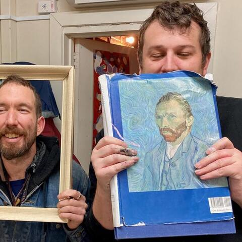Two White Room artists pose