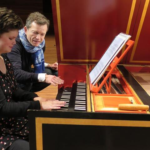 Renee Patete and harpsichordist Christophe Rousset during a touch tour of a concert by Les Talens Lyriques, presented by Chamber Music New Zealand