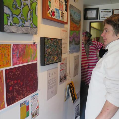 Artist Rosemarie Bowers at the Pablos Art Studios' Creative Spaces Capsule Project exhibition