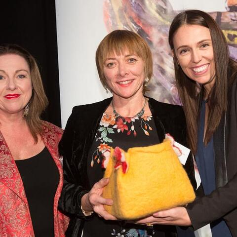 MP Jacinda Ardern presents the Arts Access Creative Space Award 2016 to Tania Flowers and Frances Kelliher, Circability Central