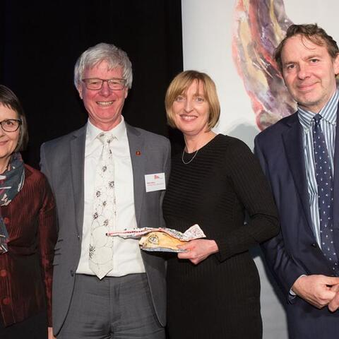 Catherine Gibson, Peter Walls and Sue Jane of Chamber Music New Zealand with Stephen Wainwright, Creative New Zealand