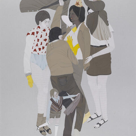 Kushana Bush, The Mock Meeting, 2011, gouache and pencil on paper, 380 x 280mm. Collection of the artist, Dunedin.