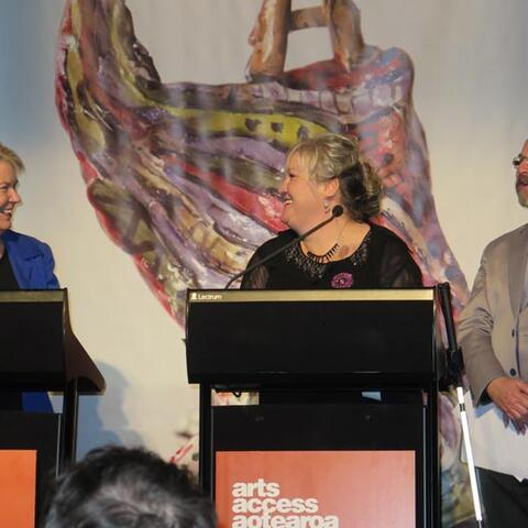 Hon Nicky Wagner, and co-presenters Julie Woods and Richard Benge