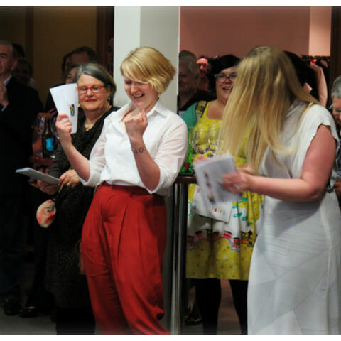 A happy Bryna O'Brien-Kiddy at the 2015 Awesome Arts Access Auction