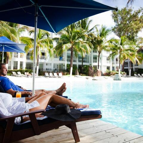 Relaxing at the Beach Club at Palm Cove in tropical northern Queensland