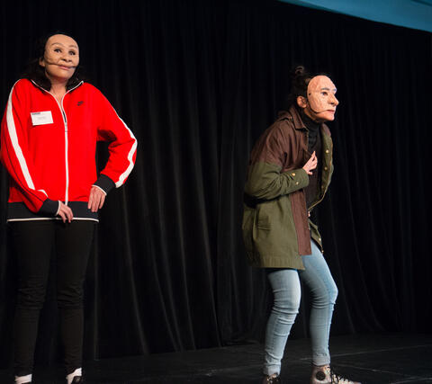 Ngāti Whātua Orākei and Mahuika Theatre Company performing an excerpt of their piece funded through the Auckland Diversity Project. Photo by Tashi Hope.