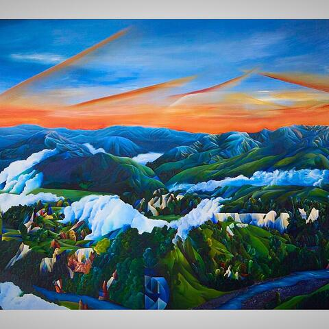 """Stitches of Dawn"" Rangitikei Hills From Mangaweka to Vinegar Hill & Beyond, Acrylic on Board $6,000"