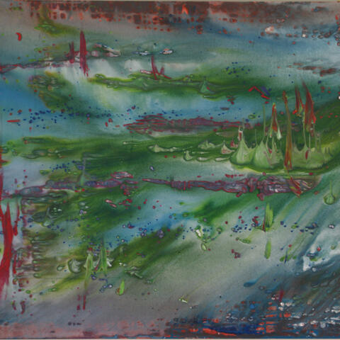 Racheal Western; abstract; acrylic;lily pond