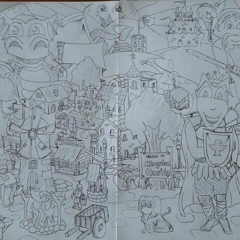 Kingstons Town - Freehand cartoon drawing in pen