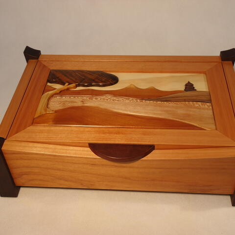 Desk Box with Intarsia lid