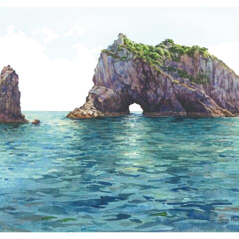 'The Hole in The Rock'  Bay of Islands, New Zealand, watercolour painting, Jayne Maria Sprott