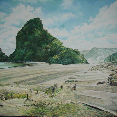 Lion Rock, Piha by Michael Rowland (oil on canvas) 1070 x 810