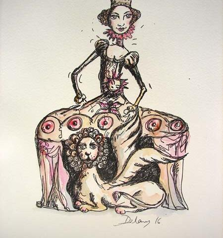 When the Queen's Lion Grew Wings - by Claire Delaney - Pen and Ink