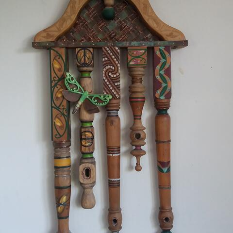 painted wood maori design