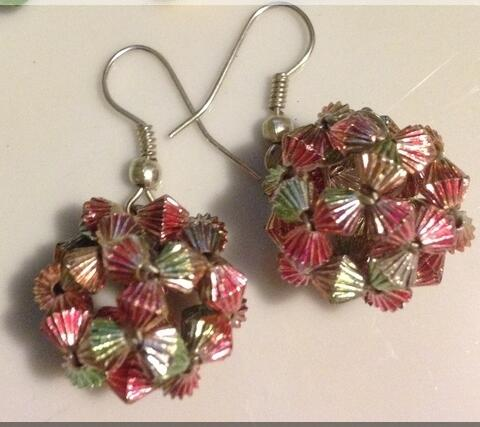 Beaded ball earring