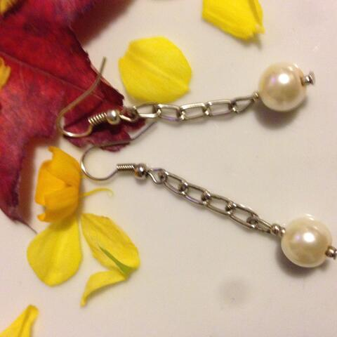 white bead chain earring