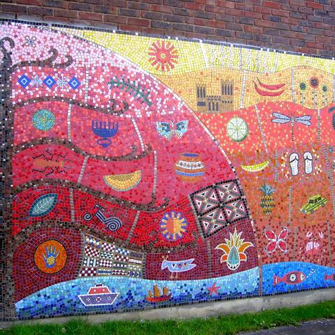Detail of mosaic mural for African Community Centre Chalk Farm London UK