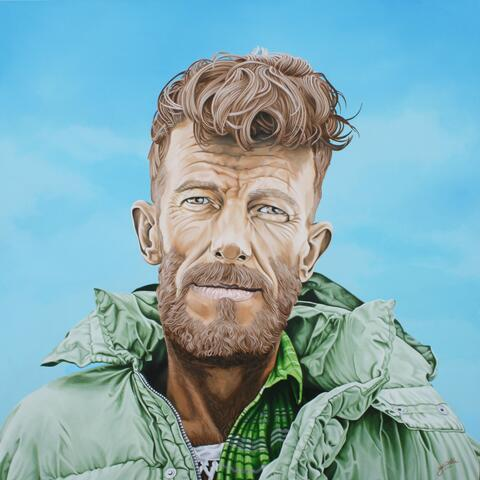 sir Edmund Hillary acrylic on board 1200mm x1200mm 2015