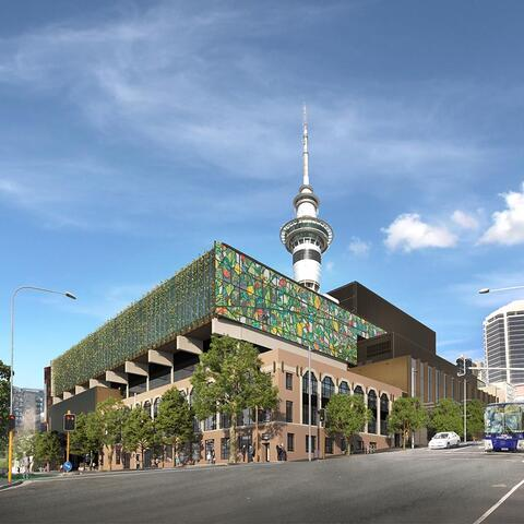 An artists impression of works by artists Sara Hughes and Peata Larkin adorning the NZICC.