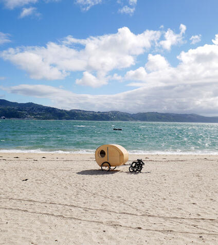 Rebecca Patrick's Caravan-Stay at Oriental Bay earlier this year. Photo supplied.