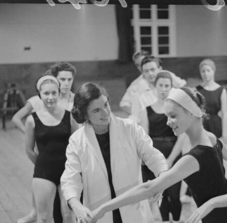 New Zealand prima ballerina, Rowena Jackson, teaching students during rehearsal at the New Zealand Ballet Company. Dominion post (Newspaper): Alexander Turnbull Library, Wellington, New Zealand.