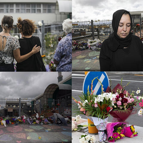 Mourners outside the Wellington Islamic Centre. RNZ / Rebekah Parsons-King. Nadia Elhajjaoui. RNZ / Rebekah Parsons-King Wellington Islamic Centre. RNZ / Rebekah Parsons-King. Flowers left at a cordon in Christchurch. RNZ / Dan Cook
