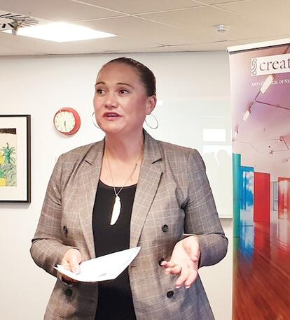 Carmel Sepuloni speaking at Te Ora Auaha launch event. Image kindly supplied by Arts Access Aotearoa