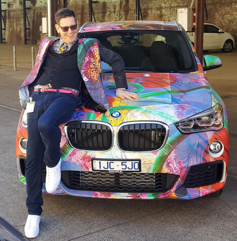 Evan Woodruffe at Sydney Contemporary with custom-designed BMW, 2017