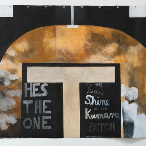 Colin McCahon - May His Light Shine (Tau Cross), 1978-79. Supplied.