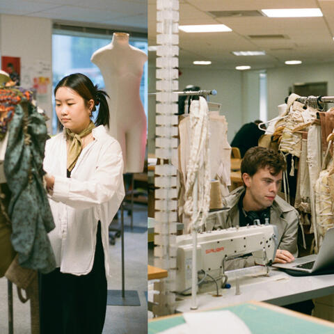 Bianca Lim-Yip and Tom Munday in the Whitecliffe fashion studio. Photo: India Essuah