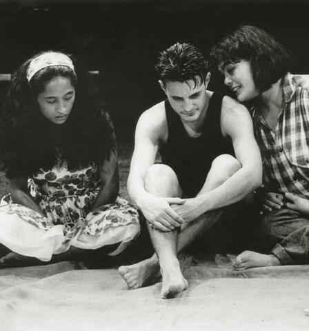 Nancy Brunning with Jason Te Kare and Rachel House in Hone Kouka's Waiora at Downstage, 1996. Supplied.