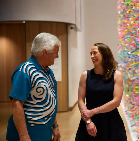 Courtney Johnston chats with Te Papa host Roger Gascoigne. Photo: Te Papa Jack Foster
