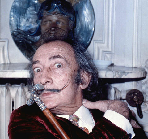 Portrait of Salvador Dalí, taken in Hôtel Meurice, Paris, 1972. Photo by Allan Warren.