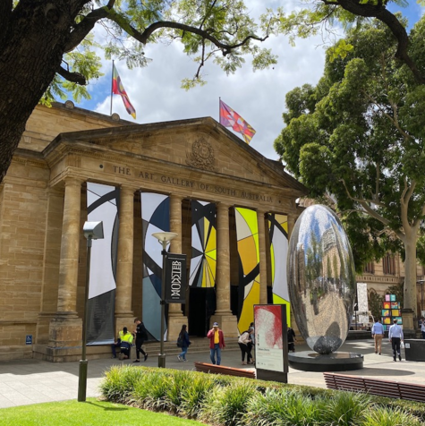 The Art Gallery of South Australia, with facade work by Mikala Dwyer for the 2020 Adelaide Biennial, and sculpture by Lindy Lee.