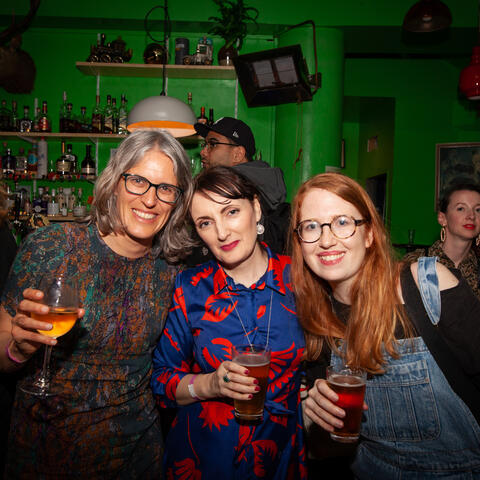 Claire Mabey (right) with Irish writer Sinéad Gleeson and Aotearoa writer Ingrid Horrocks at the 2019 Verb party. Photo: Vanessa Rushton Photography