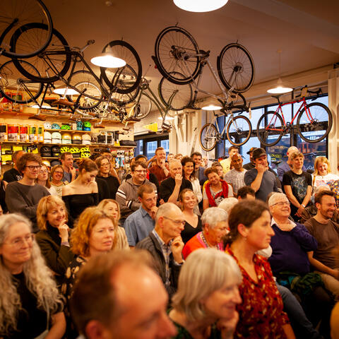 'Neo-Liberalism?'  LitCrawl in Verb Festival 2019, at Bicycle Junction. Photo: Vanessa Rushton Photography.