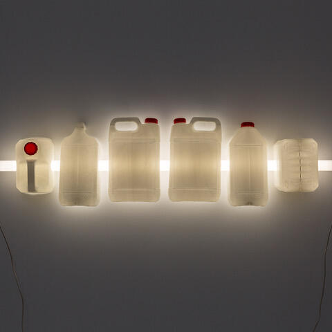 Bill Culbert, Crayfish, 1987 plastic containers cut in half,  fluorescent tube  300 x 1320 x 75mm, Mossman Gallery