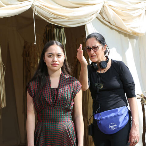 Briar Grace-Smith directs actor Tioreore Ngatai-Melbourne on the set of Cousins. Photo: Libby Hakaraia.