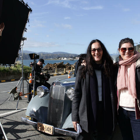 Briar Grace-Smith and co-director Ainsley Gardiner on location during the shoot for Cousins. Photo: Libby Hakaraia