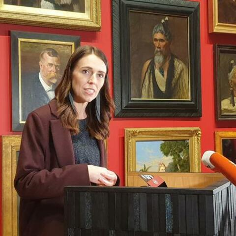 Jacinda Ardern handing down the Arts Budget at Te Papa. Photo: RNZ/Yvette McCullough.