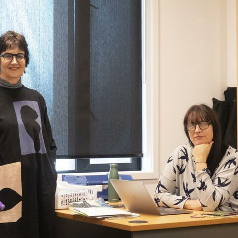 Word Christchurch Executive Director Marianne Hargreaves, left, and Programme Director Rachael King on their first day back in their city office after the COVID shutdown. Photo: Nigel Malthus